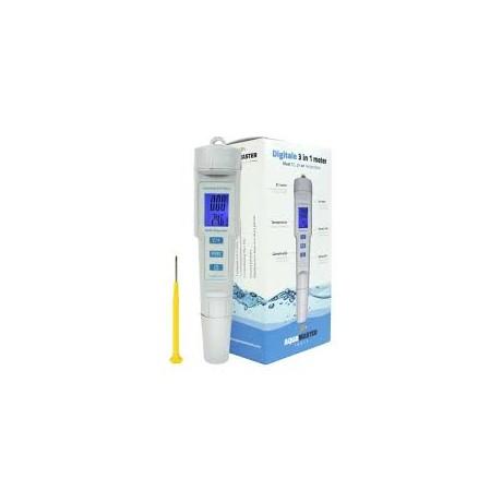 Aquamaster medidor de PH, EC y temperatura 3 en 1